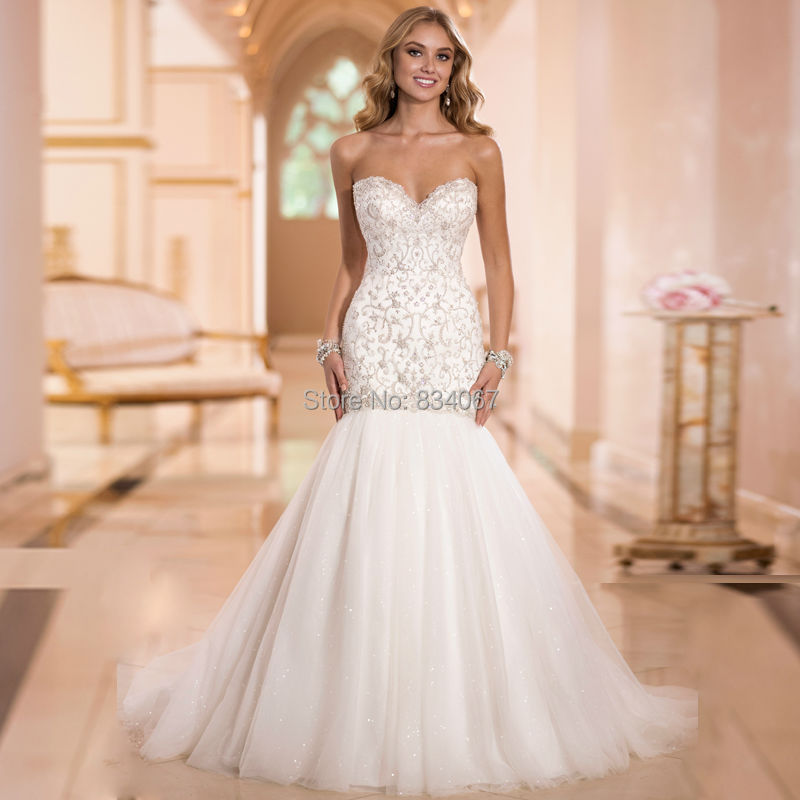 Beautiful embroidery mermaid wedding dress elegant 2017 for Mermaid wedding dress with train