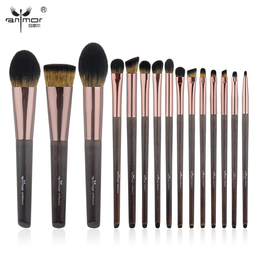 Anmor New High Quality 15PCS Makeup Brush Set Synthetic Make Up Brushes Professional Pinceaux Maquillage HM-103 anmor eyelash comb brush high quality eyebrow makeup brushes for daily or professional make up