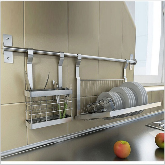 Stainless Steel Kitchen Shelves Knivesdrill platedish Rack