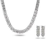 La nouvelle 18 K or blanc bijoux bijoux allergie Diamant Pendentif Boucles D'oreilles zircon mariée costume