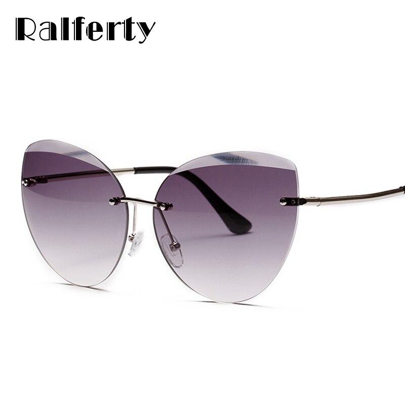 Ralferty 2018 Nuovi Occhiali Da Sole Donne Occhio di Gatto Senza Montatura Occhiali Da Sole UV400 Grigio Sfumato Shades Occhiali Accessori Femminili Oculo W2299