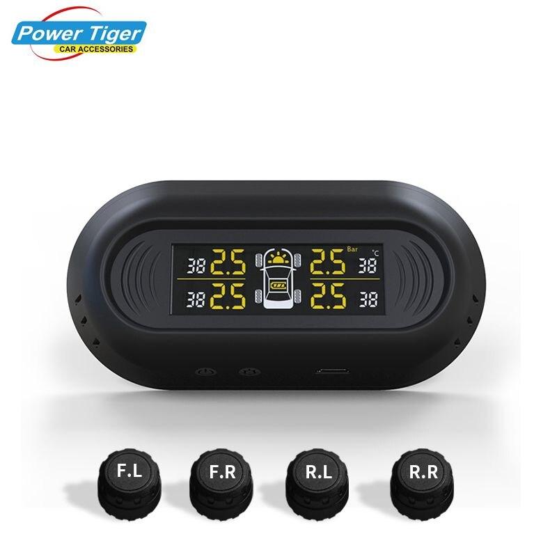 Système de surveillance de la pression des pneus de voiture pour jauge d'alarme des pneus avec 4 capteurs en temps réel système de sécurité automatique LCD numérique sans fil