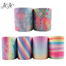 JOJO BOWS 75mm 2y Sparkly Thin Glitter Ribbon For Craft Rainbow Mermaid Tape Needlework DIY Hair Bow Apparel Sewing Material
