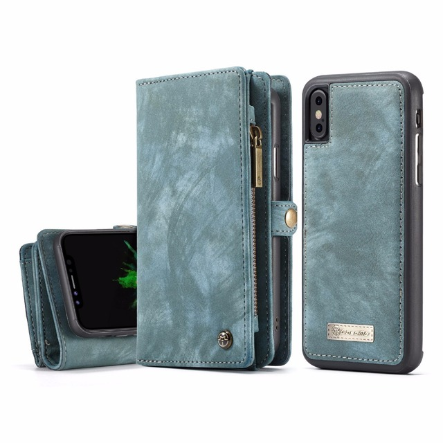 For iPhone X Cases Premium Retro Zipper Wallet Genuine