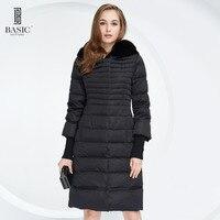 기본 보그 여성 겨울 슬림 확장 바닥 다운 파카 재킷 이동식 토끼 모피 후드-Y15010