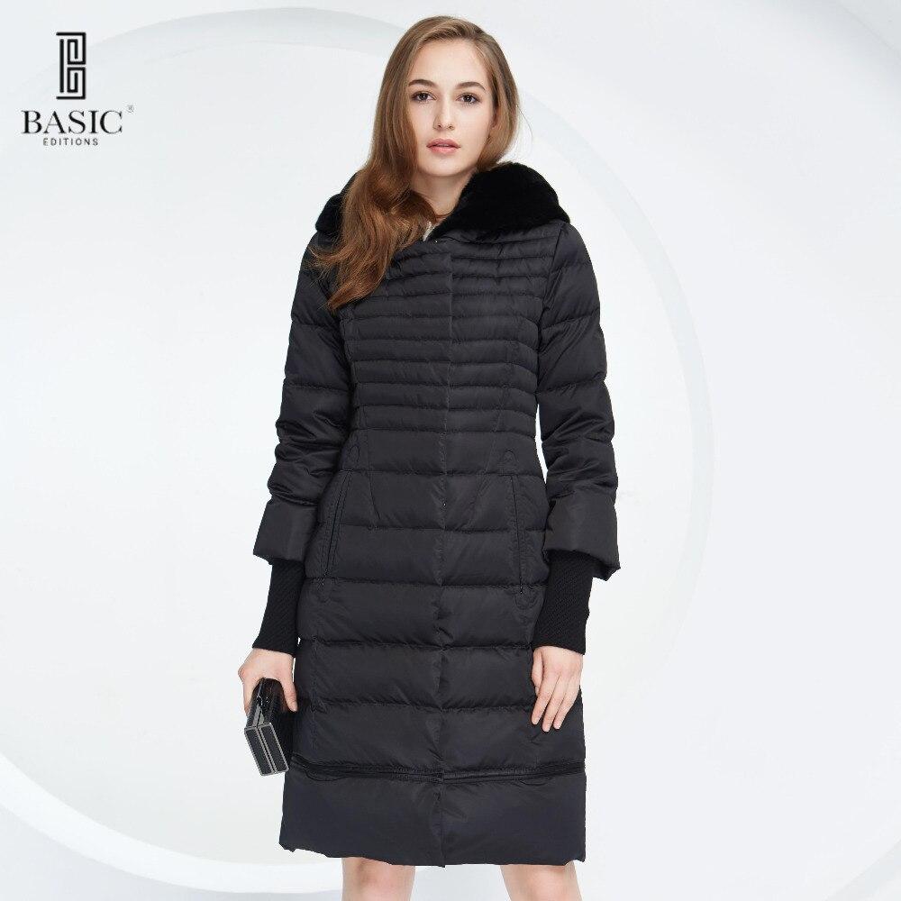Vogue Femmes D'hiver Slim Extensible de base Inférieure Vers Le Bas Parka Vestes avec Amovible Fourrure De Lapin Capot-Y15010