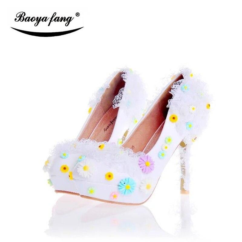 New Arrival Flower Summer hot white party dress shoes Women wedding Pumps platform shoes leather insole fashion shoes женское платье summer dress 2015cute o women dress
