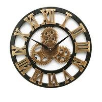 Американские ретро настенные часы 80 см римские цифры стальные шестеренки часы деревянные 3D часы гостиная украшения дома аксессуары настен