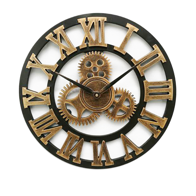 American Retro Wall Clock 80cm Roman Numerals Iron Gear