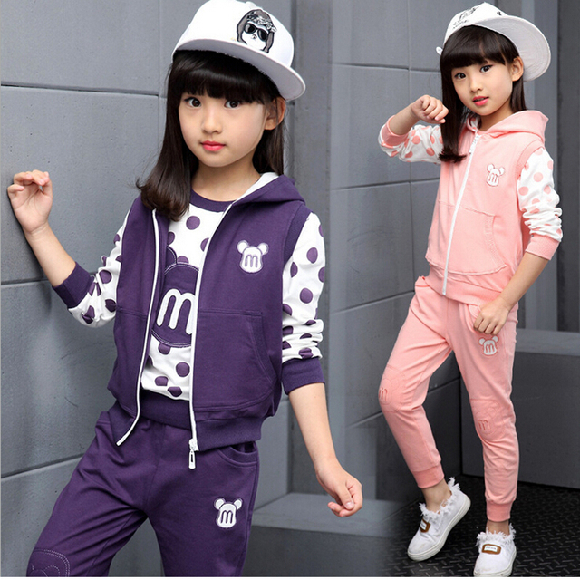 Girls autumn three-piece suit 5-7-9-11-13 years kids fall long-sleeved sport suit children clothes girls fall casual sets 2016