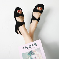 2019 summer new comfortable simple solid color sandals women suede comfortable wild casual sandals