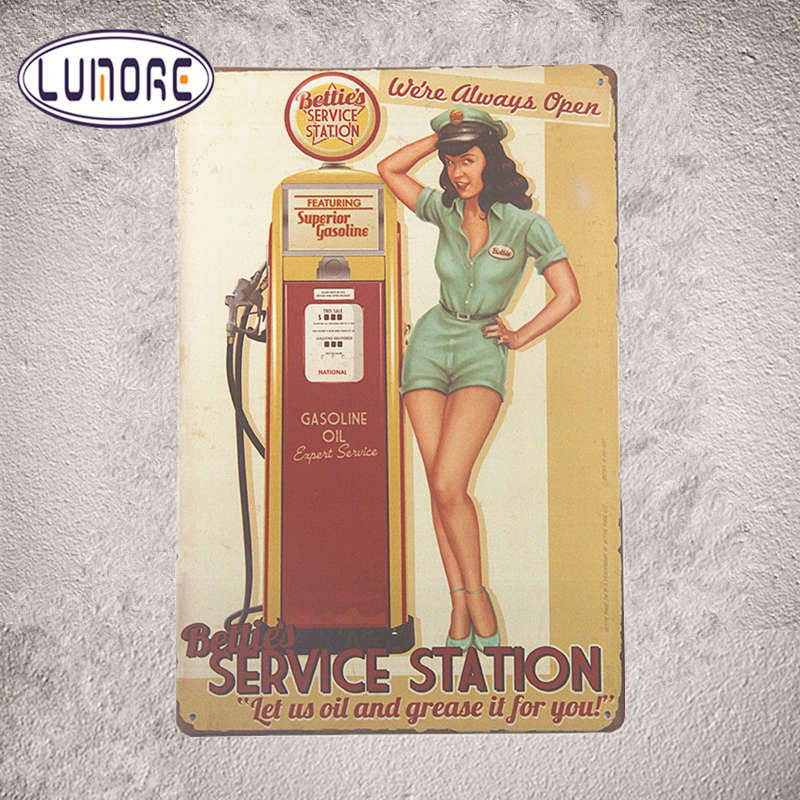 Tin Signs Bettie's Service Station Pin Up Girl Oil Gas With Striking, Home Decor, Man Cave G104
