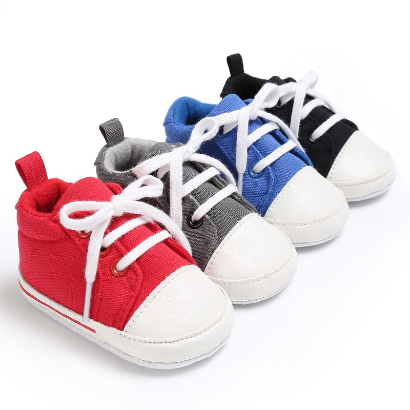 2017 New Baby Shoes Infant Toddler Pram Crib Girls Boys Lace-up Cavans Padded Soft Soled Sneakers