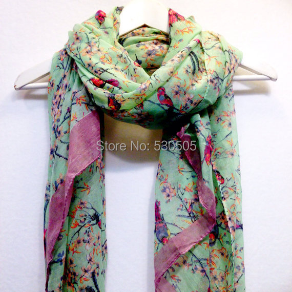 Light Green Love Bird Cherry Blossom Scarf Christmas Gift