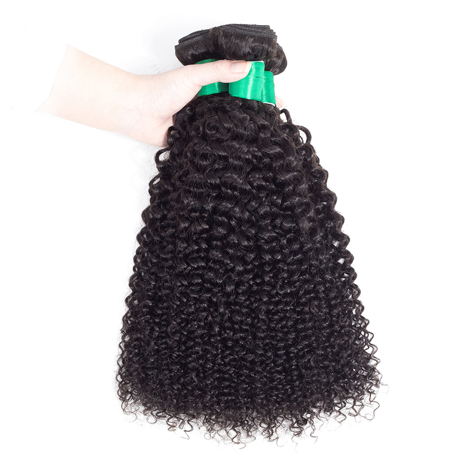 Gabrielle Hair Indian Kinky Curly 3 Bundles with Closure Free/Middle/Three Part1 00% Non Remy Human Hair Weaves 4x4 Lace Closure