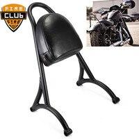 for Harley Sportster XL 883 1200 04 16 Motorcycle Short Passenger Sissy Bar Backrest w/Pad Black