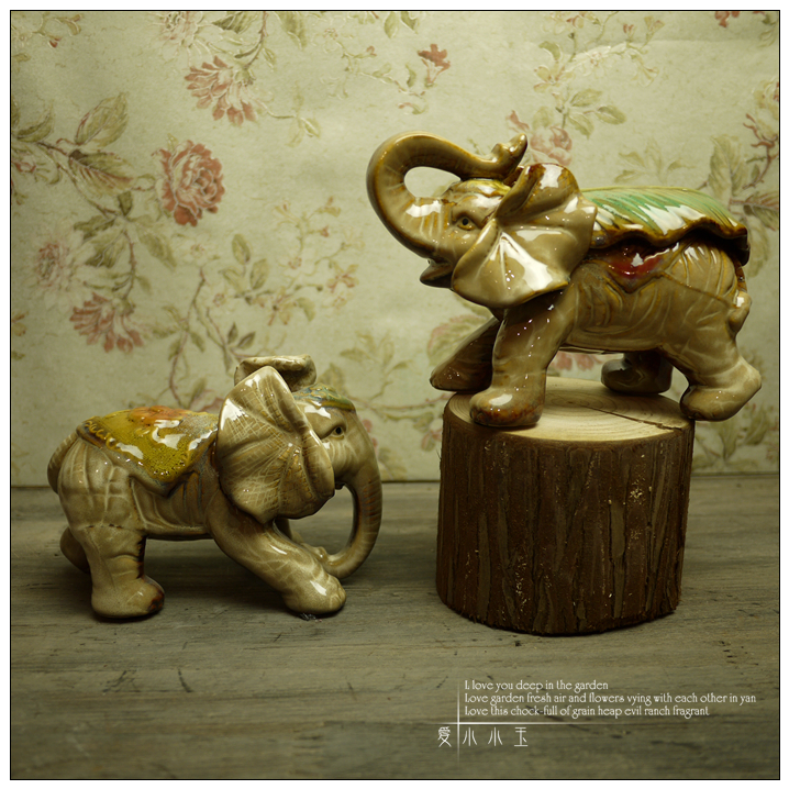 Cute A Pair Of Thailand Baby Elephant Animal Ceramic Handicraft Ornaments Room Decor Children