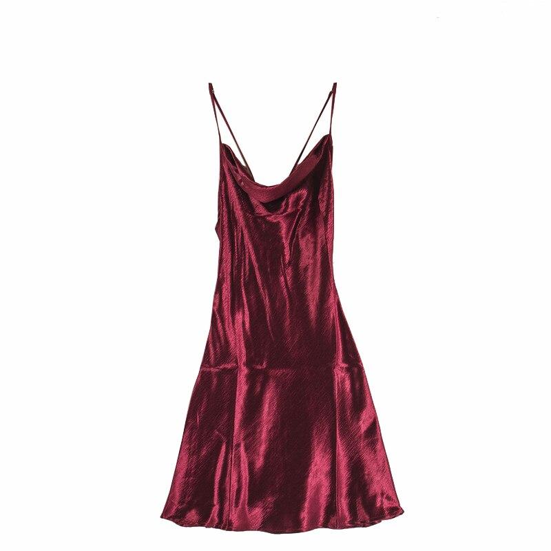 Robe De Sexy Grande Hauteur Satin Bourgogne Pyjama Spaghetti Bretelles Nu Tissu Mince Dos 2018 D'été Très Éblouir wEqXXP7