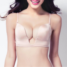 9da8c592aa76d Sexy Satin ECMLN invisible plunge Women Deep U backless bras shape multi-way  Push Up