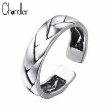 Chandler Silver silver Braid Patten Ring For Women Geometric Simple Open Bague Thailand Silver Male Femme Bijoux(China)