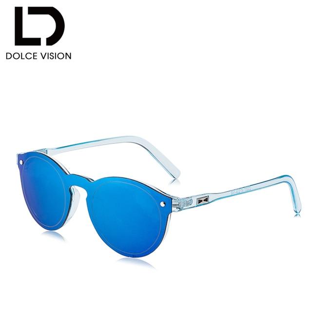 ab1275f96e2c0 DOLCE VISÃO Folga Rodada Acetato Quadro UV400 óculos de Lente Azul  Espelhado Óculos De Sol Dos