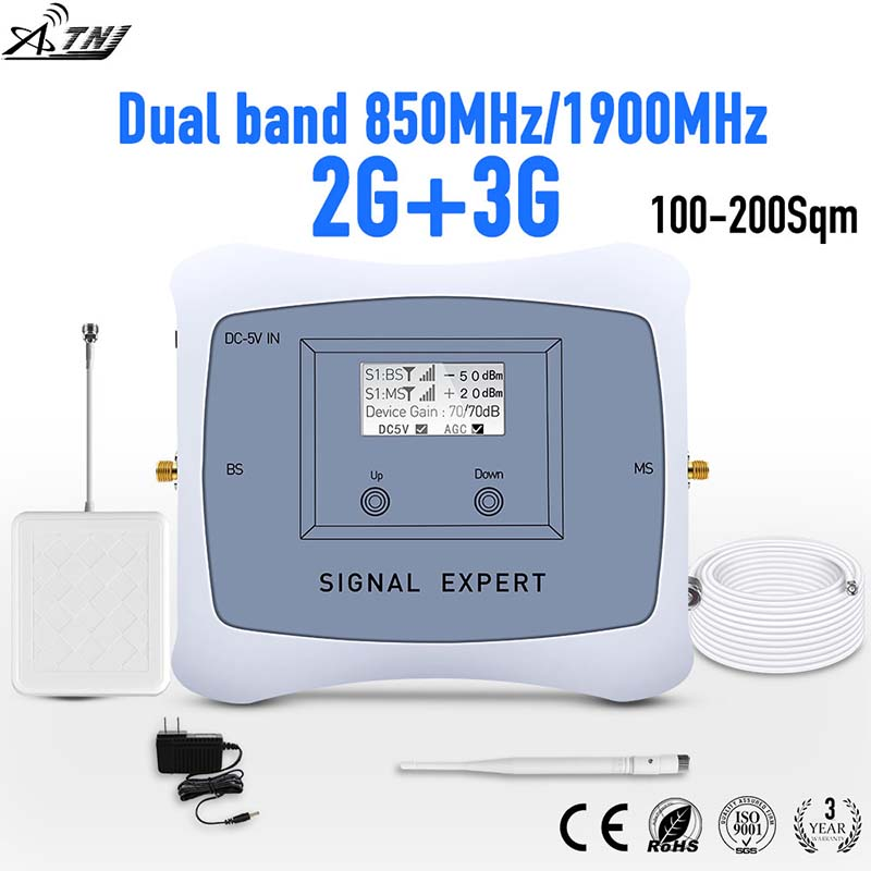 Full Smart!2g 3g Mobile Signal Repeater DUAL BAND 850/1900mhz Cellular Signal Cell Phone Booster Amplifier With LCD Display Kit