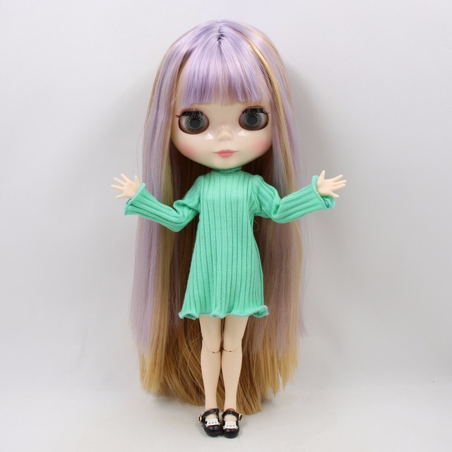 TBL Neo Blythe Doll Purple Brown Hair Jointed Body