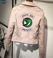 PU Southside Riverdale Leather Jackets Serpents Pink/Black Women Riverdale Serpents Streetwear Leather Brand Coat Custom