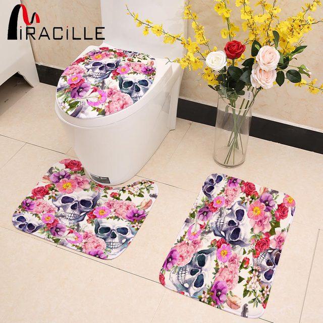 Feminine Floral Skull Printed Toilet Seat Cover, Toilet Mat, and  Bath Mat
