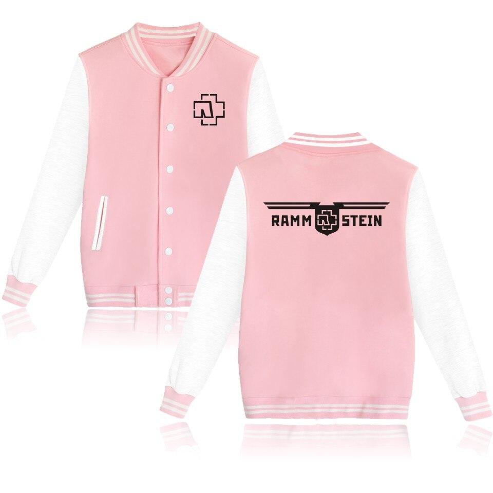 LUCKYFRIDAYF Rammstein Baseball Pink Jacket Hoodies Men Women Fleece Sweatshirts Hip Hop Hoodie Cotton Brand-Clothing Tracksuit