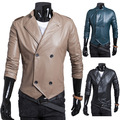 M new winter double-breasted short paragraph PU leather jacket collar