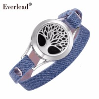 EVERLEAD Denim Double wrap leather bracelet Locket Tree of Life aromatherapy diffuser bracelets Valentine's Day gift for wife