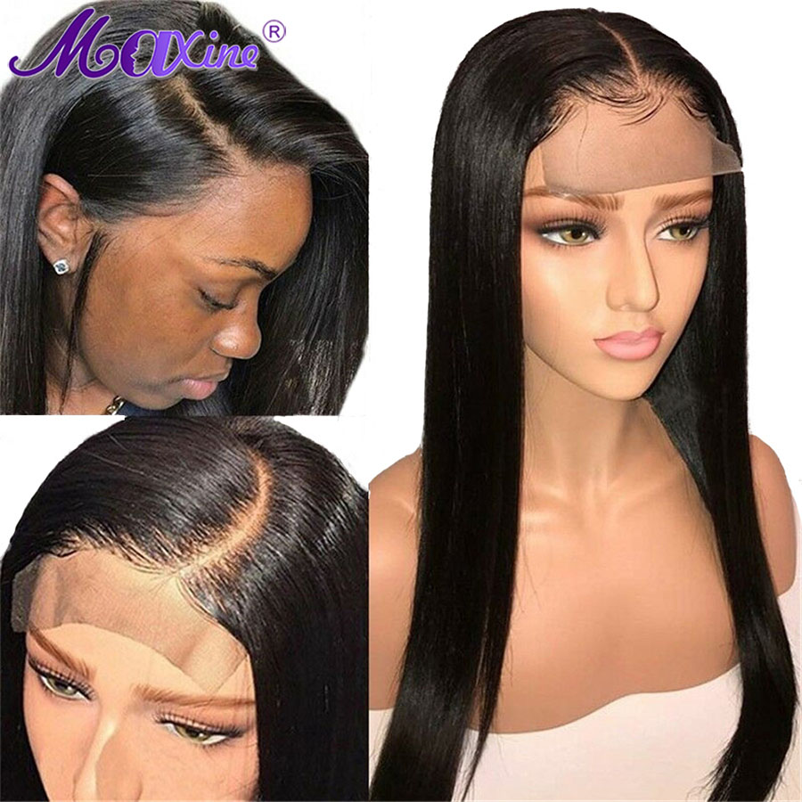 Peruvian 4x4 Closure Wig Straight Lace Front Human Hair Wigs For Black Women Pre Plucked With