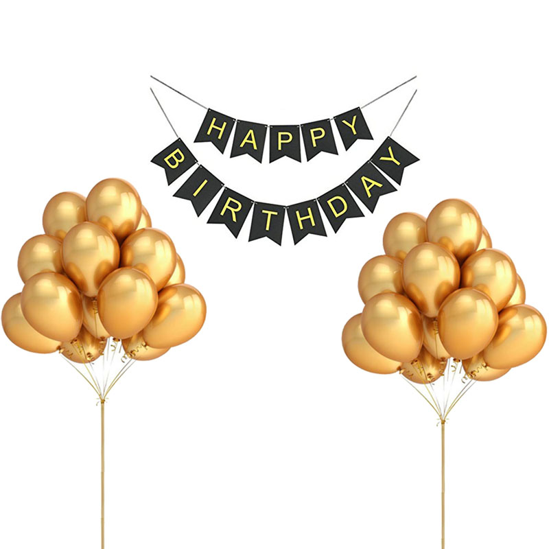 1 Set Black Happy Birthday Banner 20pcs Gold Balloons
