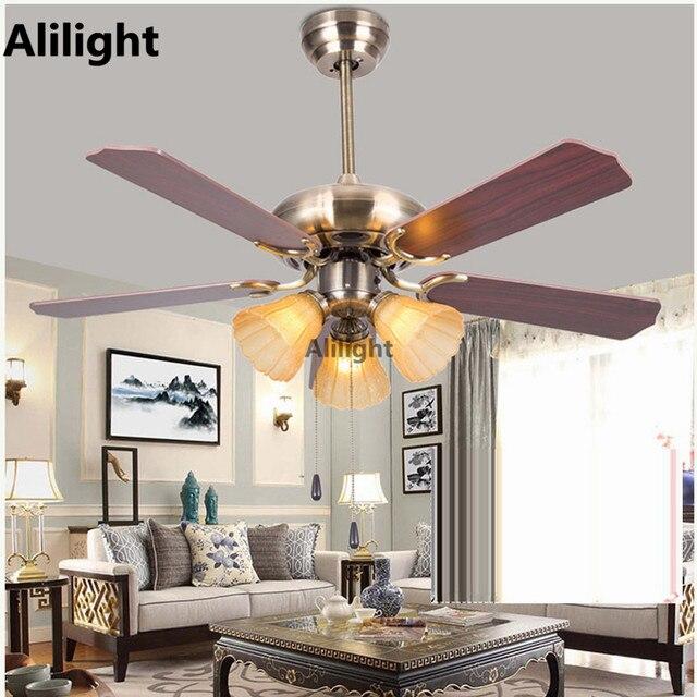 led fer verre ventilateurs de plafond avec des lumires en bois feuille ventilateur lumire lampe suspendue - Ventilateur De Plafond Pour Chambre