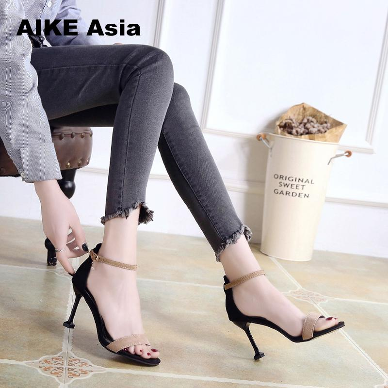 2019 Female Fashion Sexy Hollow With Sandals Summer Women Pumps Shoes Woman String Bead  Ankle Strap  High Heels Wedding