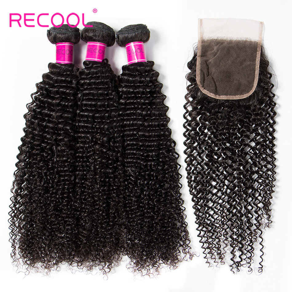 Recool Hair Kinky Curly Bundles With Closure Brazilian Hair Weave 3 Bundles With Closure Human Hair