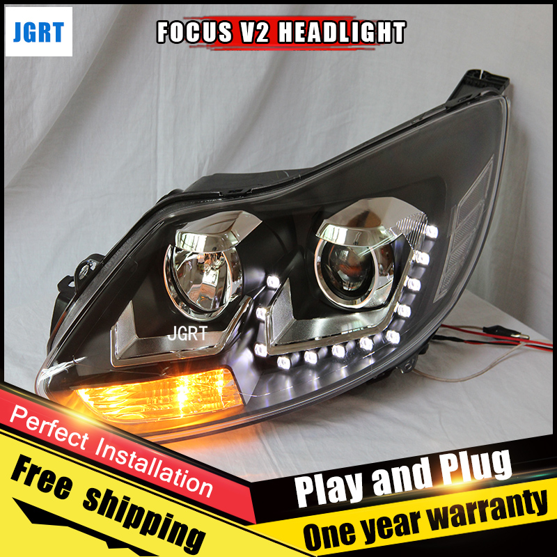 2PCS Car Style LED headlights for Ford focus 2012-2013 for focus head lamp LED DRL Lens Double Beam H7 HID Xenon bi xenon lens hireno headlamp for 2013 2015 ford kuga escape se headlight headlight assembly led drl angel lens double beam hid xenon 2pcs