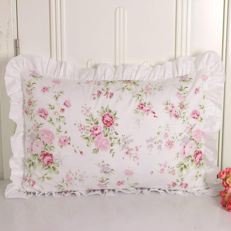 New princess pillowcase handmade ruffle wrinkle pillow cases textile home bedding decorative pillowcase pastoral pillow cover