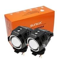 1pcs High Power U7 125w Motorcycle Projector Headlight 3000LM Motorbike Head Fog Lamp Angle Eyes Devil