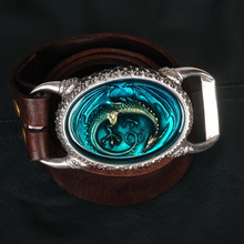 OGRM Handmade Tin Alloy Dragon Buckle Genuine Cowhide Leather Men's Belt Dragon Buckles Luxury Brand Men Belt