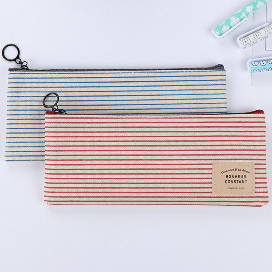 1 PCS Vintage Creative Striped Cotton Cloth Zipped Pencil Case School Pencil Bag For Students Stationery Estojo Escolar Office S