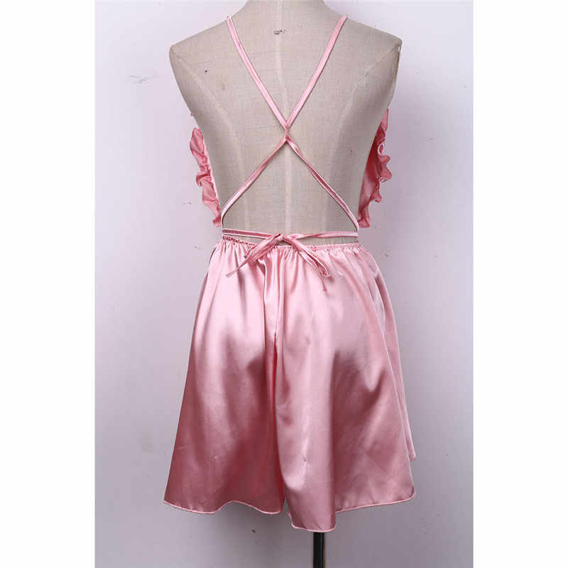 Moda damska seksowna bielizna nocna w stylu kombinezon pajacyki Clubwear Playsuit spodnie otwarte wiązanie na plecach letnie ubrania 3 kolory
