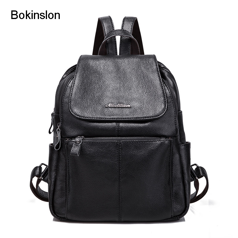 Bokinslon Fashion Backpack Woman Simple PU Leather Women Travel Bags Popular Solid Color Female Backpacks