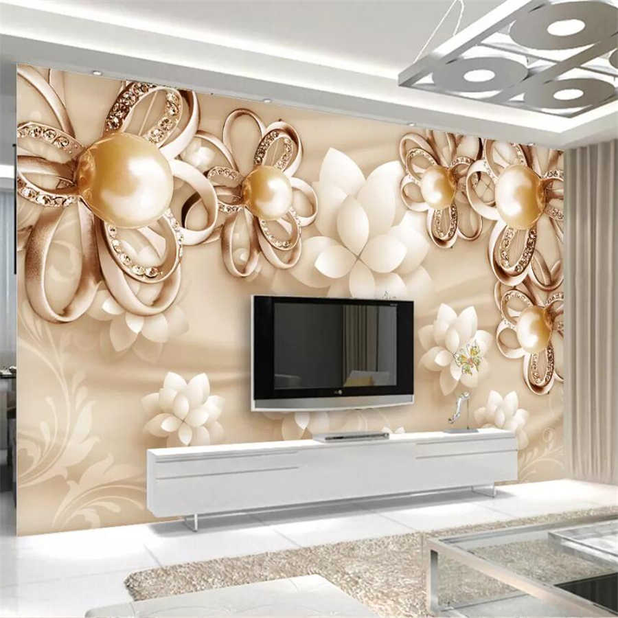 beibehang Custom wallpaper 3D murals golden pearl flower luxury jewellery TV background wall 5d decorative painting 8d wallpaper