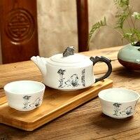 Exquisite Tee-Set Ge Ofen  Kung fu tee-set für Puer tee  Reise Keramik Tee-Set  eine teekanne 170 ml & zwei tassen 35 ml