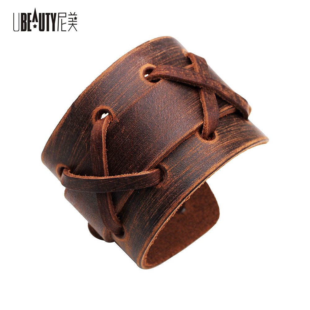 UBEAUTY New Arrival Genuine Leather Bracelet Wristband Mens Wide Leather Cuff Bracelet with Snap Button For Men Women Jewelry