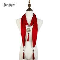 Jzhifiyer Cotton Women Foulard Pendant Shawl Jewellery Fringe 40x200cm Hijab Scarfs Necklace Beads Shawl Charm Accessories