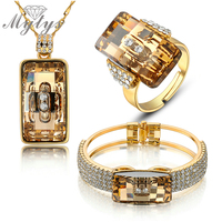Wedding Jewelry Sets Smoked Topaz High Quality Crystal Jewelry Set Ring Necklace And Bracelet Sets N405