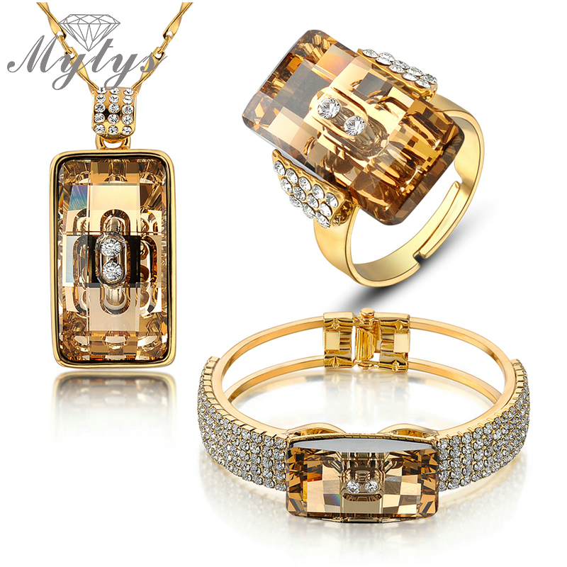 Mytys Wedding Jewelry sets smoked High Quality Crystal Jewelry Set ring necklace and bracelet sets N405 viennois new blue crystal fashion rhinestone pendant earrings ring bracelet and long necklace sets for women jewelry sets
